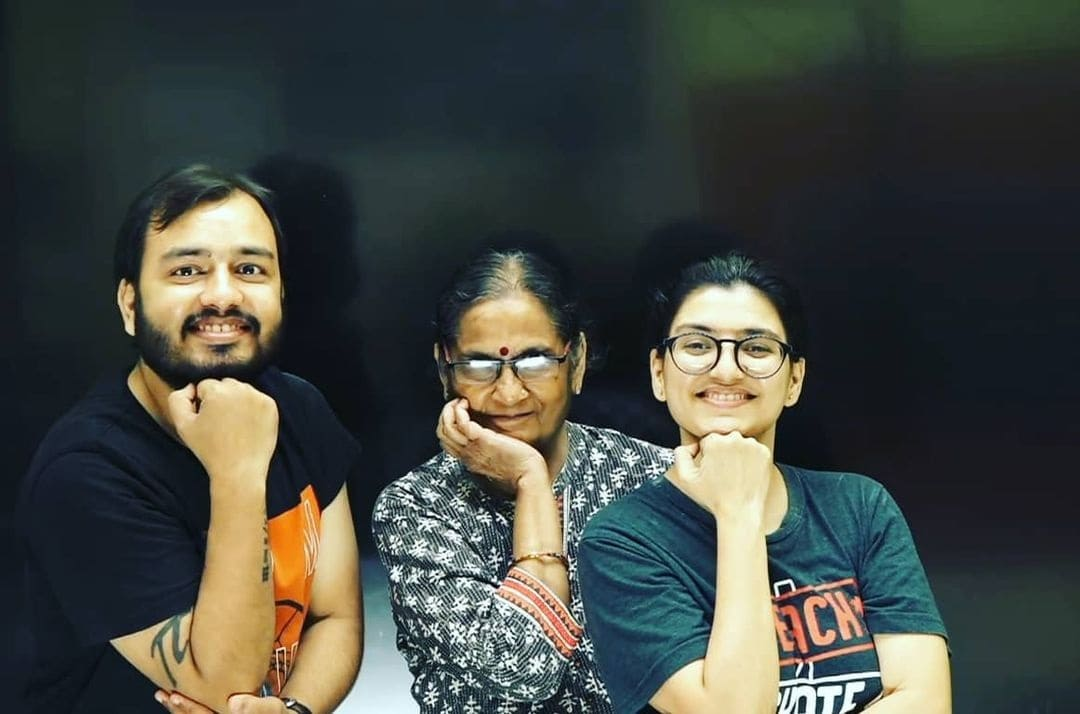 Alakh Pandey with his Mother and Sister Aditi Pandey
