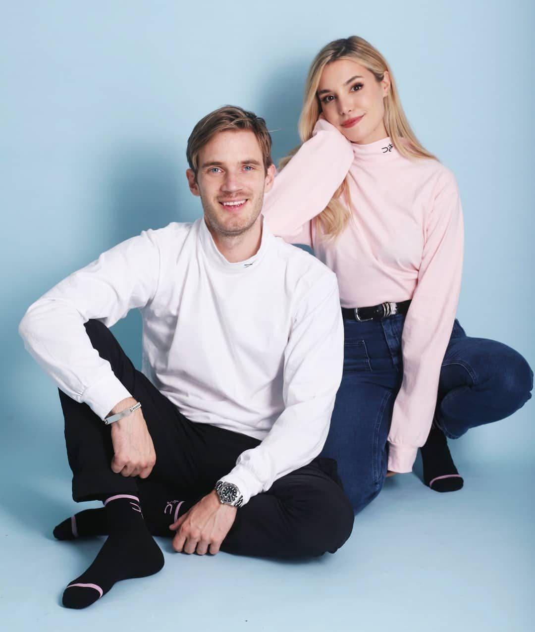 PewDiePie with his wife Marzia Kjellberg