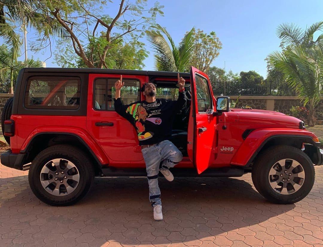 Emiway Bantai with his car JEEP Wrangler