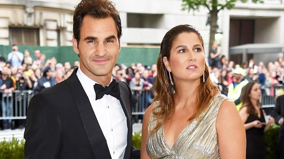 Roger Federer with his wife