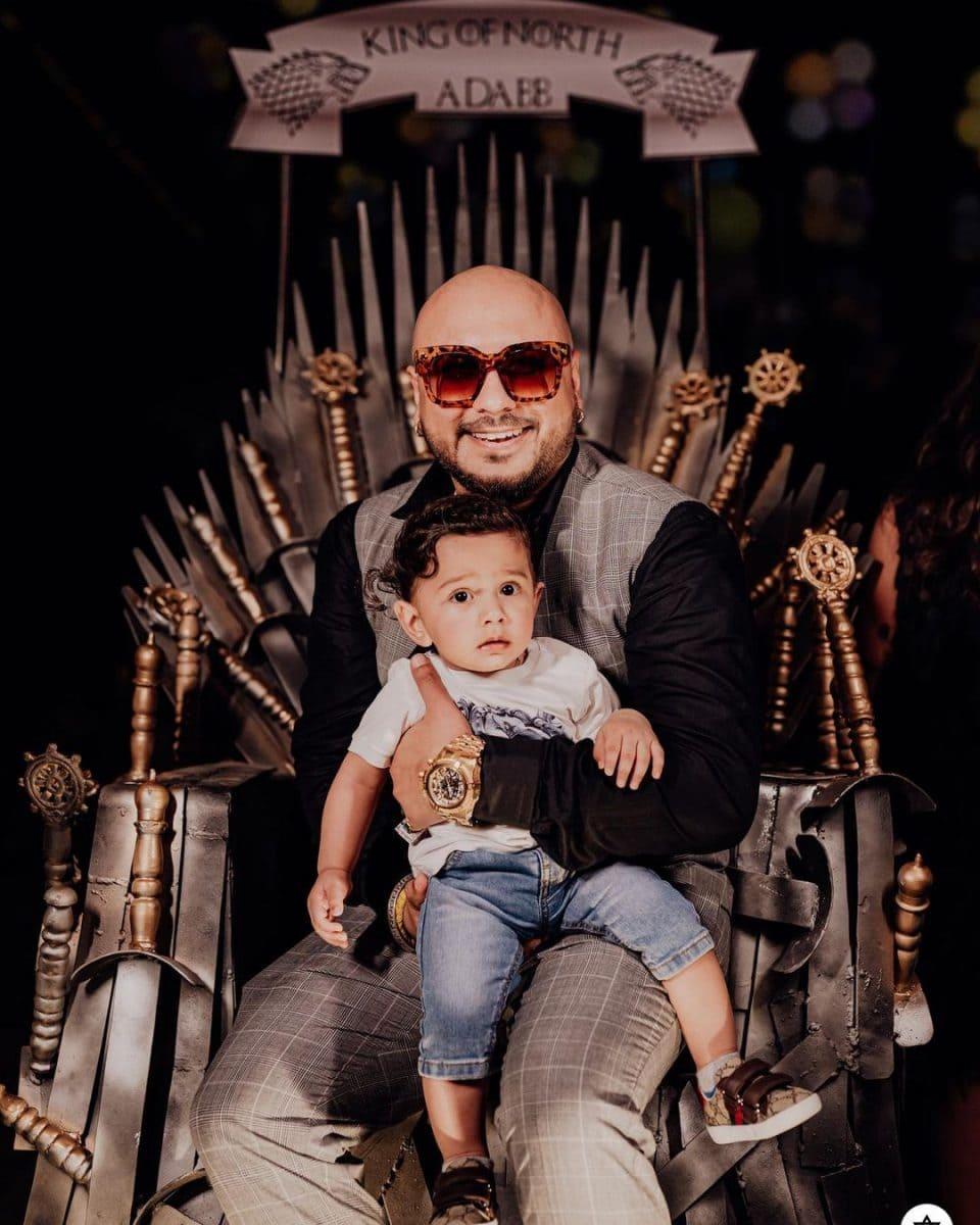 B Praak with his son Adabb Bachan