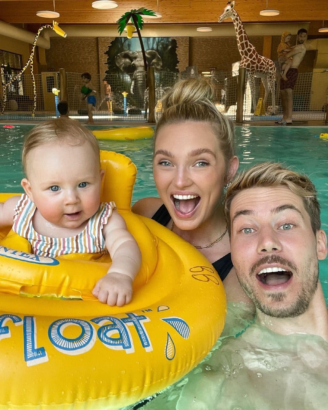 Romee Strijd with her Husband and their Child